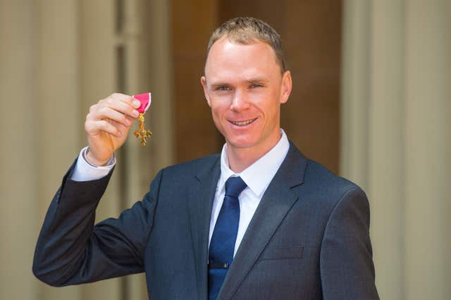 The double Tour de France winner received an OBE from the Duke of Cambridge at Buckingham Palace in 2016