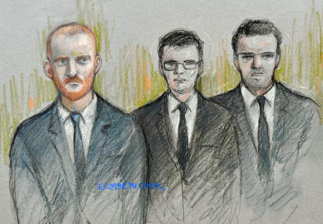 Court artist sketch by Elizabeth Cook of (left to right) England and Durham cricketer Ben Stokes, Ryan Hale and Ryan Ali (PA)