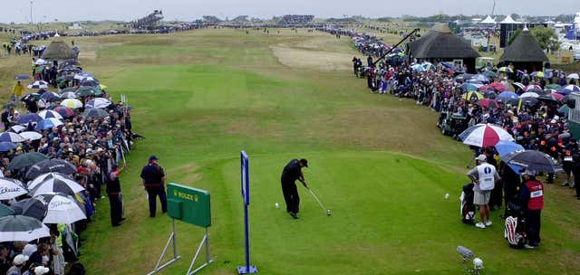 Tiger Woods tees off at Royal St George's in 2003