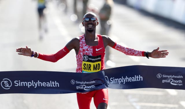 Sir Mo Farah wins the Men's Elite Race during the Great North Run in Newcastle