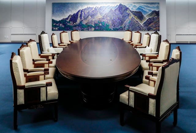 The meeting room where the summit will take place (AP)