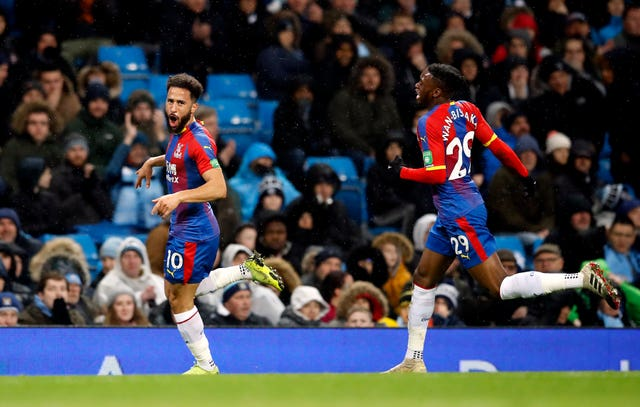 Andros Townsend (left) scored a stunning goal when Crystal Palace beat Manchester City in December