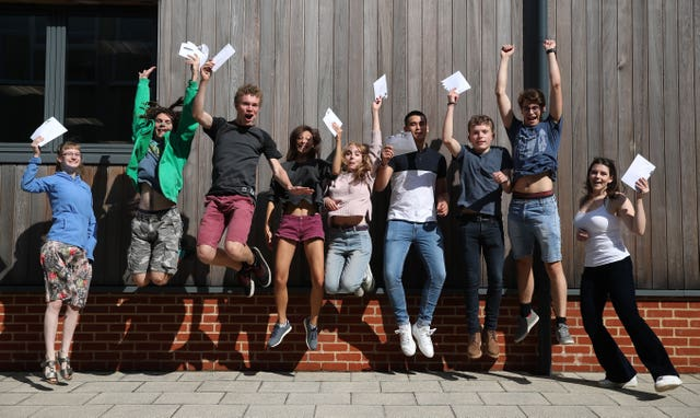 Students celebrate at Peter Symonds College in Winchester