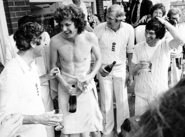 Skipper Mike Brearley, Bob Willis, Tony Greig and Alan Knott celebrate after victory by an innings and 85 runs at Headingley in 1997 clinched the Ashes