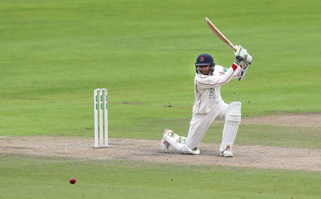 Haseeb Hameed was at the crease for Lancashire as bad light stopped play at New Road.