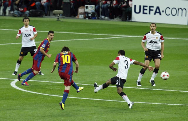 Messi lines up his side's second goal in the victory over Manchester United (Sean Dempsey/PA).