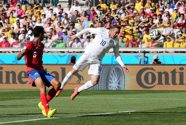 Wayne Rooney goes close with a header against Costa Rica four years ago