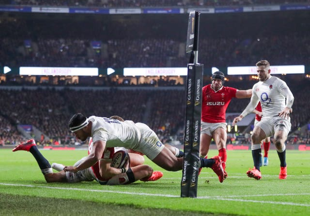 Manu Tuilagi was sent off for a high tackle on George North in a fiery contest at Twickenham