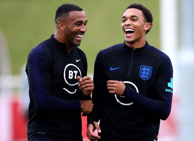 Callum Wilson, left, is all smiles with Trent Alexander-Arnold