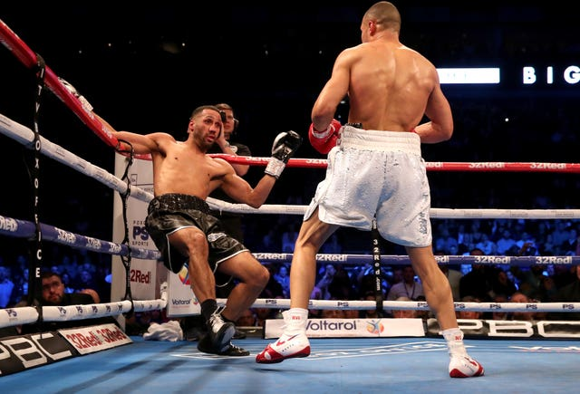 Chris Eubank Jr, right, floored James DeGale twice during the domestic clash