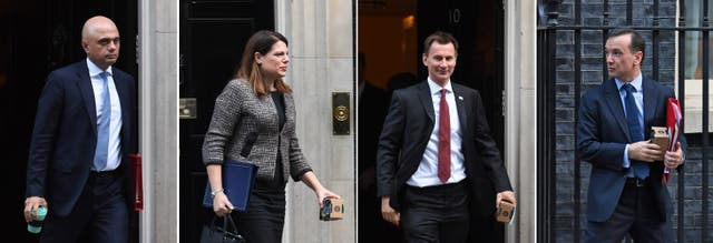 Composite image of (left to right) Communities Secretary Sajid Javid, Minister of State Caroline Nokes, Health Secretary Jeremy Hunt and Wales Secretary Alun Cairns holding reusable coffee cups, some still in their boxes, as they leave 10 Downing Street, London, after a Cabinet meeting (Stefan Rousseau/PA)