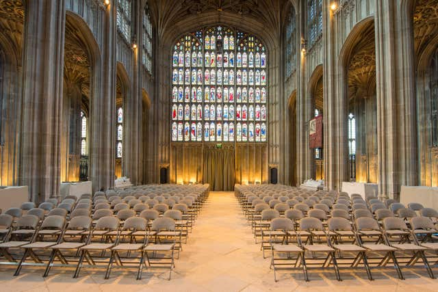 The wedding service will begin at St George's Chapel at midday (Dominic Lipinski/PA)