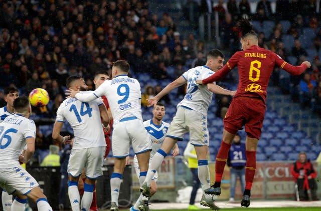 Chris Smalling scoring for Roma against Brescia