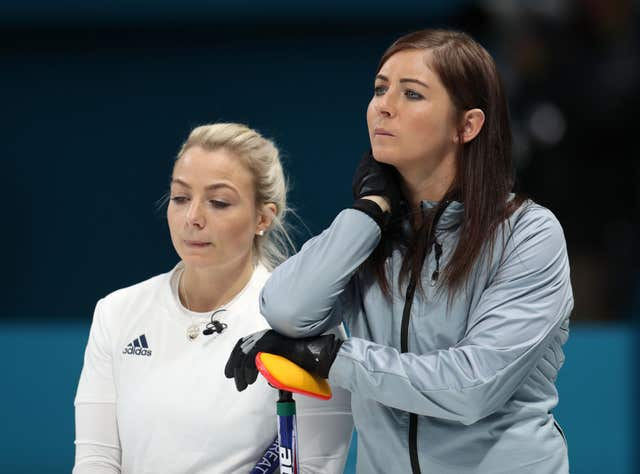 Skip Eve Muirhead, right with team-mate Anna Sloan, was