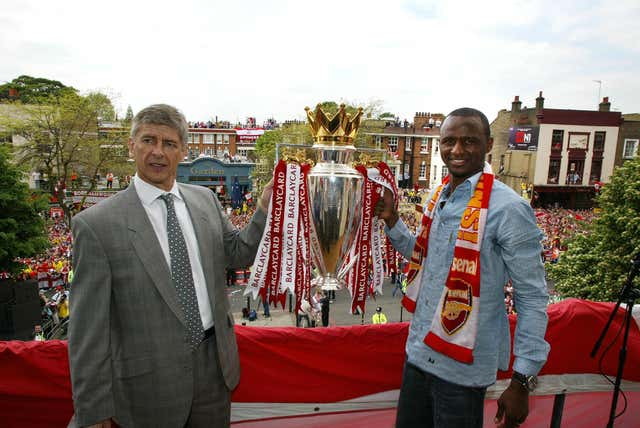 Patrick Vieira captained Arsenal's unbeaten Invincibles under Wenger