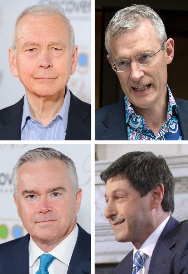 John Humphrys, Jeremy Vine, Huw Edwards and Jon Sopel have accepted pay cuts (BBC/PA)
