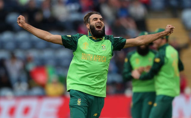 Imran Tahir celebrates after dismissing Asghar Afghan