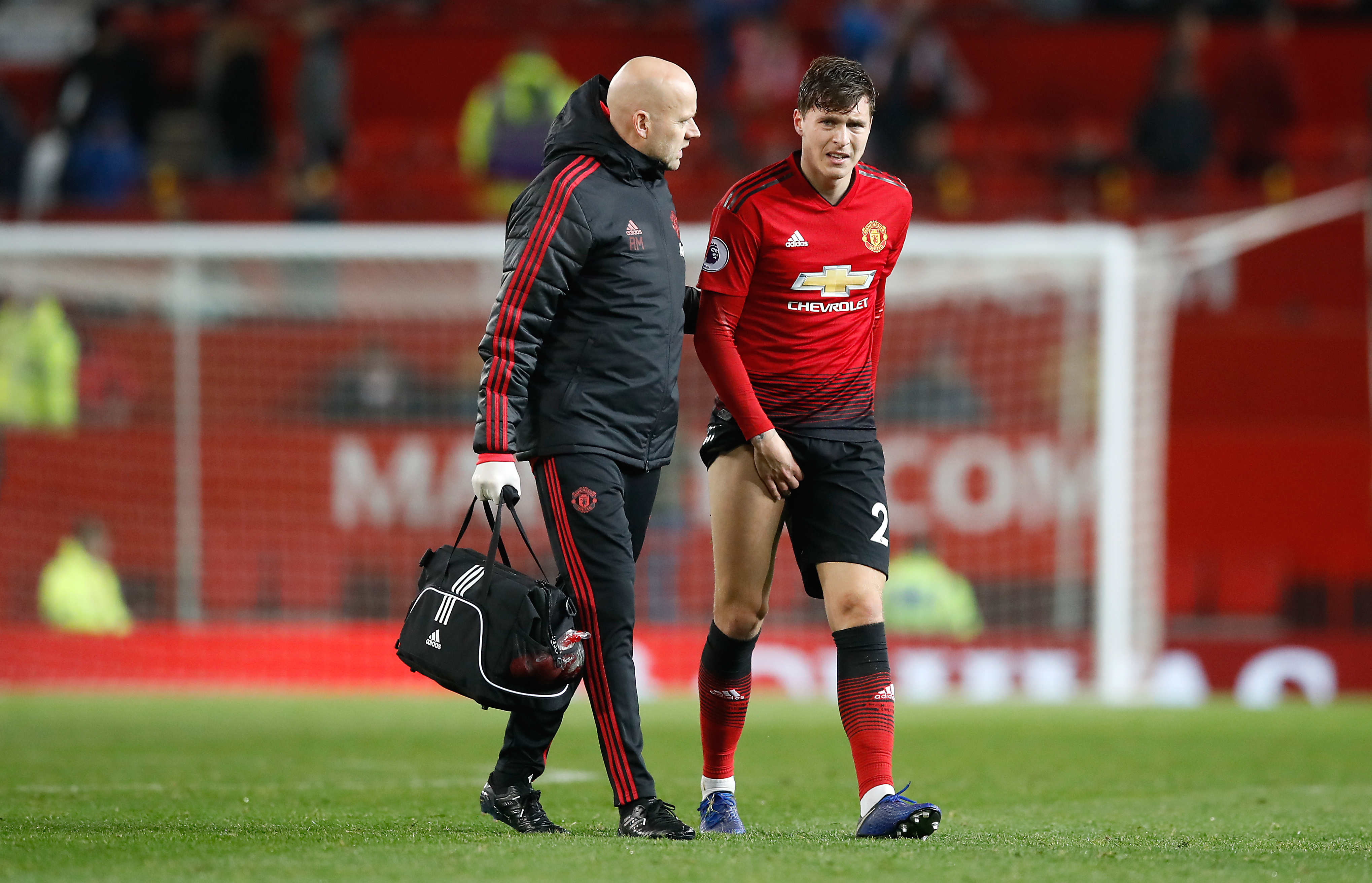 Victor Lindelof right limps off after United's draw with Crystal Palace