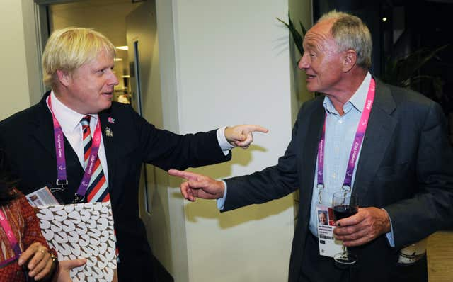 Then London mayor Boris Johnson meeting his predecessor Ken Livingstone at the Olympic Stadium ahead of the closing ceremony of the Paralympics (Stefan Rousseau/PA)