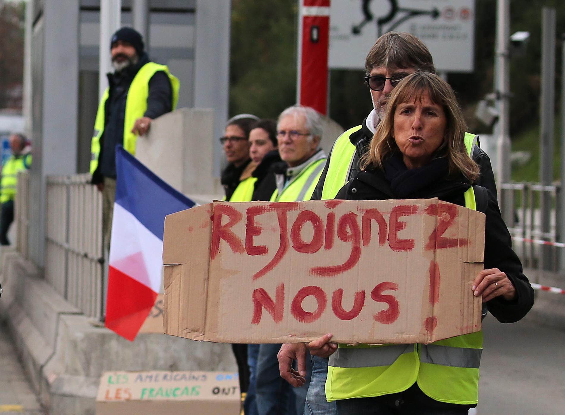 Demonstrators at toll gates on a motorway in Biarritz