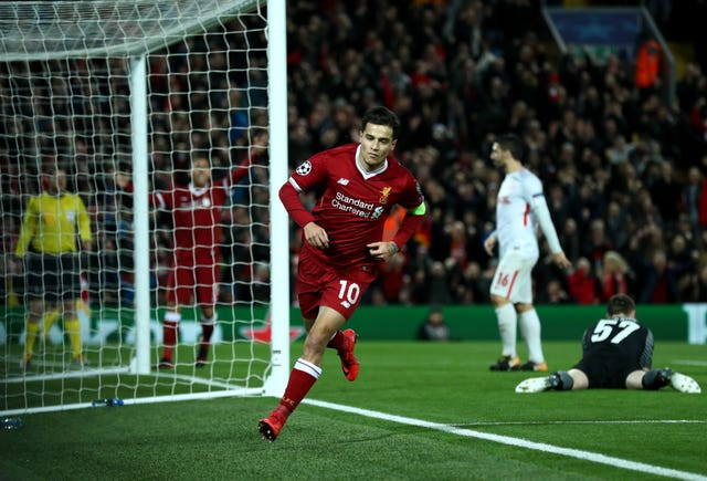 Liverpool striker Philippe Coutinho celebrates scoring against Spartak Moscow in the Champions League match at Anfield. (Tim Goode/PA Wire)
