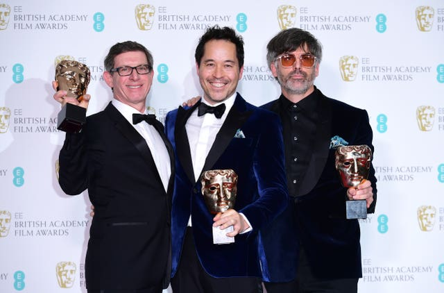 Jeff Melvin, Shane Vieau and Paul Austerberry won for production design for The Shape Of Water (Ian West/PA)
