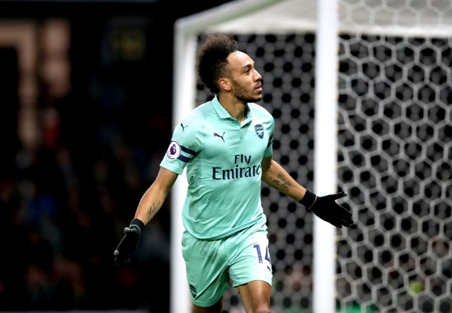 Pierre-Emerick Aubameyang celebrates his early goal