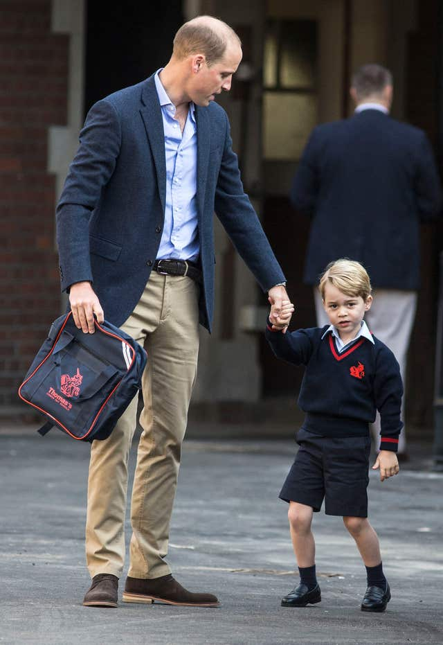 Prince George on his first day at school at Thomas's Battersea (Richard Pohle/The Times/PA)