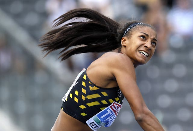 Nafi Thiam, pictured, is a fierce rival of Britain's Katarina Johnson-Thompson