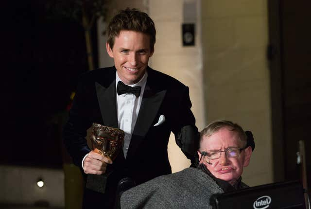 Eddie Redmayne and Professor Stephen Hawking (PA)
