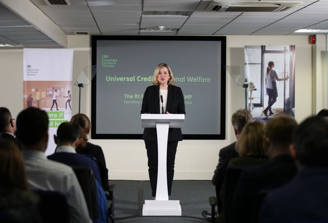 Work and Pensions Secretary Amber Rudd giving a speech at Kennington Jobcentre, London
