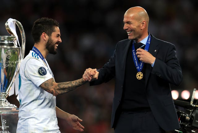 Real Madrid manager Zinedine Zidane, right, has won three Champions League titles