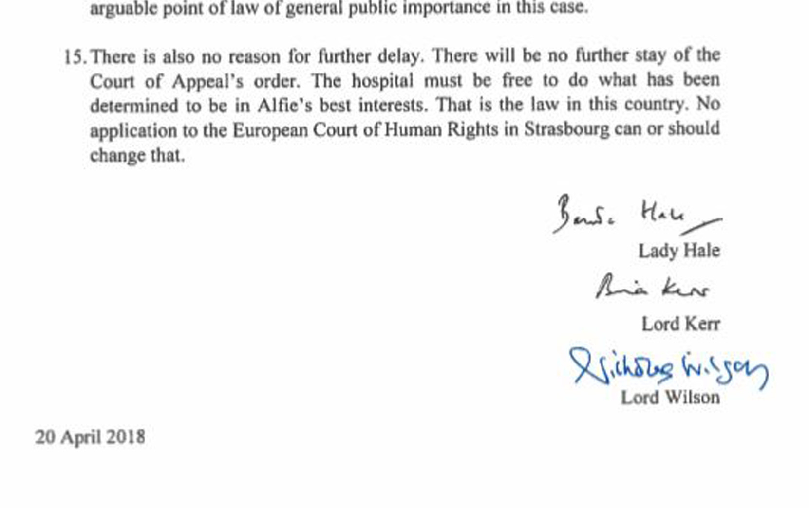 The last reason from the ruling by Supreme Court president Lady Hale Lord Kerr and Lord Wilson