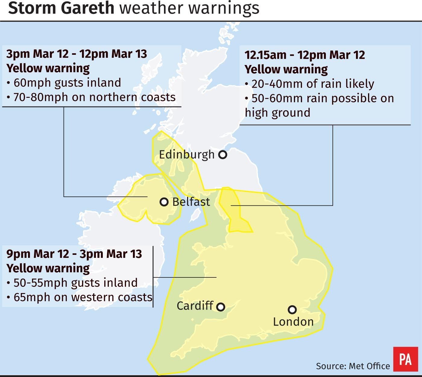 Met Éireann issues three new weather warnings as Ireland braces itself for Storm Gareth