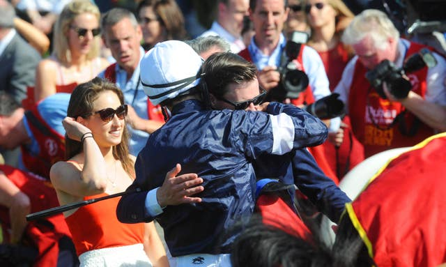 Joseph O'Brien embraces his brother Donnacha after their Irish Derby triumph