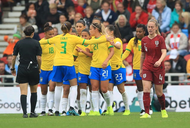 England Women suffered a 2-1 defeat by Brazil in their friendly at the Riverside Stadium.