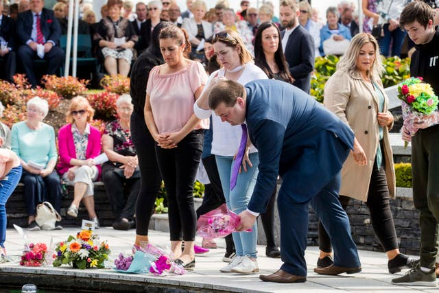 Omagh bomb survivor Gary McGillion during the inter-denominational service