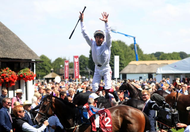 Frankie Dettori was in flying dismount form after winning on Advertise at Newmarket