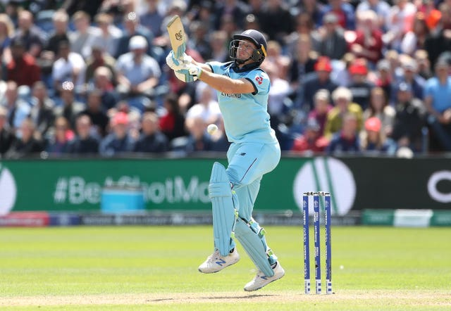 Jos Buttler hurt himself while striking a six at Cardiff.