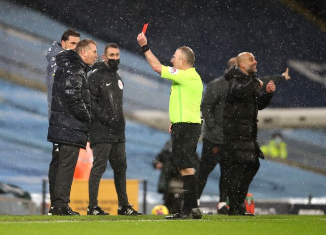 Dean Smith was sent off for his complaints