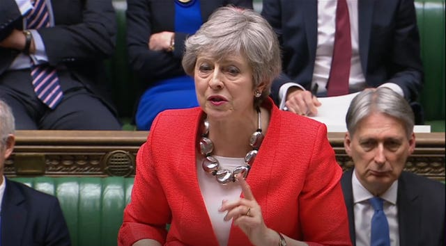 Prime Minister Theresa May speaks during the Brexit debate