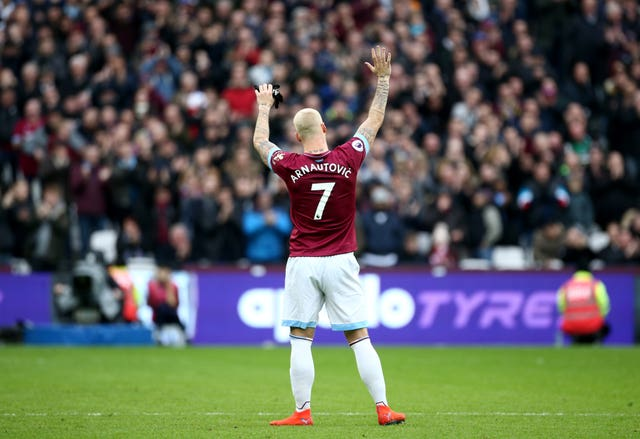 Marko Arnautovic salutes the crowd as he is substituted against Arsenal (Yui Mok/PA).