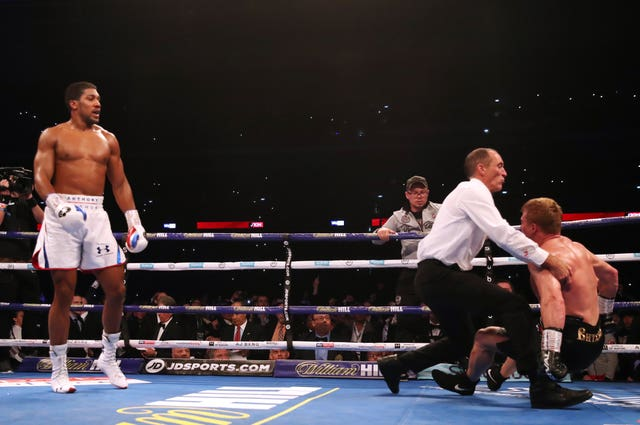 Anthony Joshua retained the IBF, WBA and WBO heavyweight titles by knocking down Alexander Povetkin on Saturday