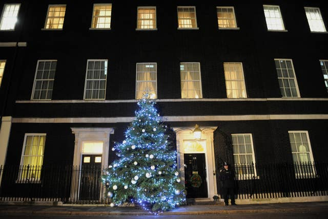 Downing Street Christmas lights (Anthony Devlin/PA)