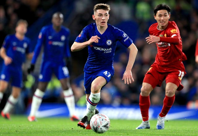 Chelsea's Billy Gilmour (centre) and Liverpool's Takumi Minamino (right) during the FA Cup fifth round