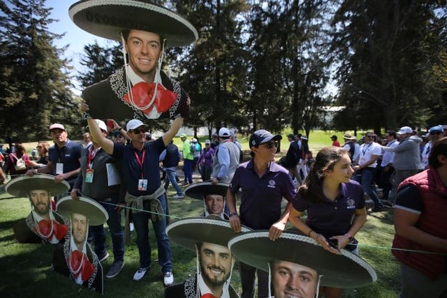 A cutout of Rory McIlroy dressed as a mariachi