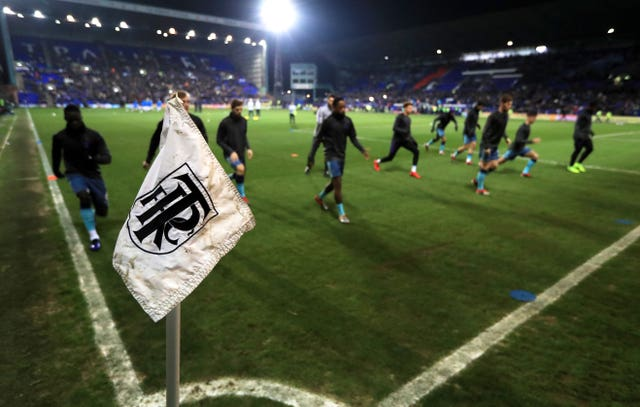 Tottenham players warm up at Tranmere