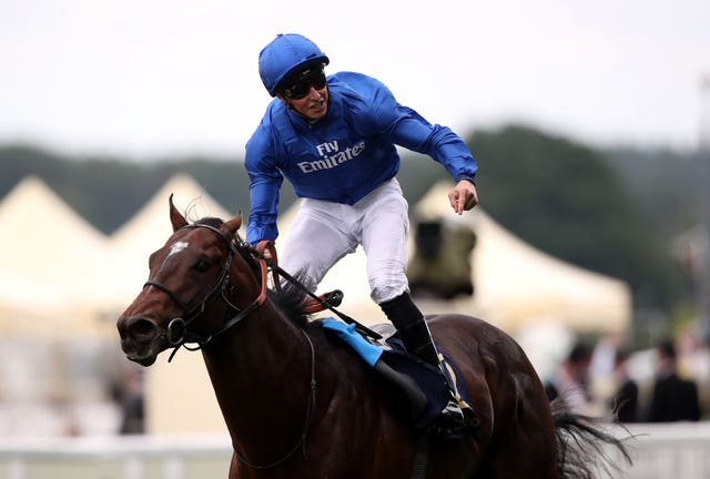 William Buick celebrates King's Stand Stakes victory aboard Blue Point