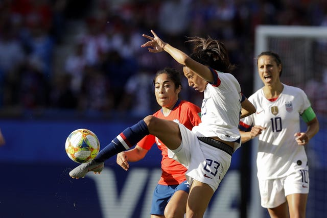 Christen Press takes a shot as the USA won 3-0 against Chile