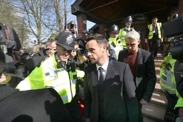 McPartlin is photographed as he leaves the court (Steve Parsons/PA)